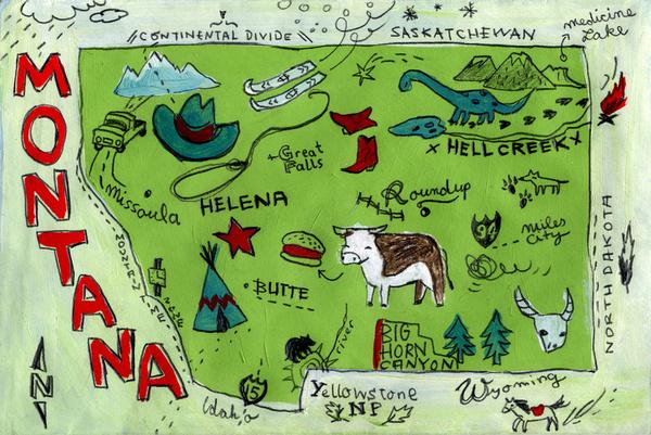 Montana Map by Christiane Engel //